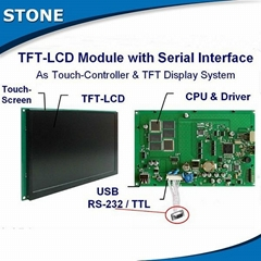 stone tft lcd module with glass touch screen parts via rs232 interface