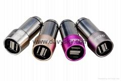 2.4A 双 USB 不锈钢车载充电适配器带逃生锤功能