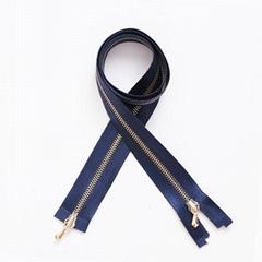 Drop Puller Two Way Silk Tape Metal Zipper