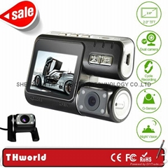 full hd dual camera car dvr X2 front and back double lens night vision