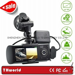 "3.2"" lcd gps car dvr X3000 with double camera gps logger driving locator"