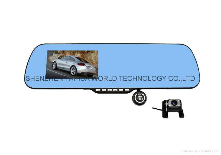 DUAL LENS camera X6 car rearview mirror dvr camera with 4.3'' TFT LCD Display 2