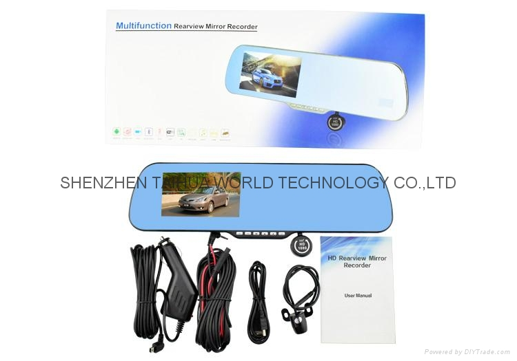 DUAL LENS camera X6 car rearview mirror dvr camera with 4.3'' TFT LCD Display 8
