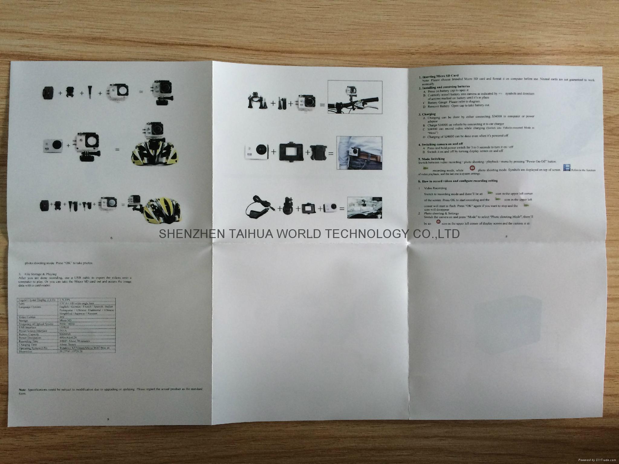 Cheapest sports dv SJ4000 hd 720p action camera 30m watertight mini camera 9