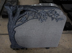 Light Gray G633 Polished Tree Carving Tombstone & Monument