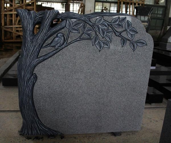 Light Gray G633 Polished Tree Carving Tombstone & Monument 2