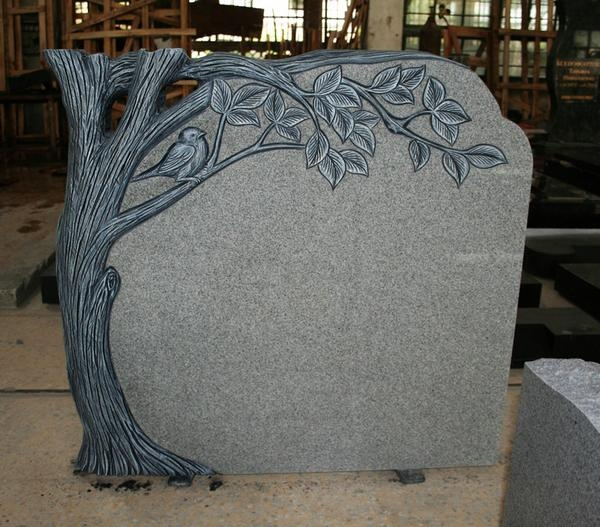 Light Gray G633 Polished Tree Carving Tombstone & Monument 3