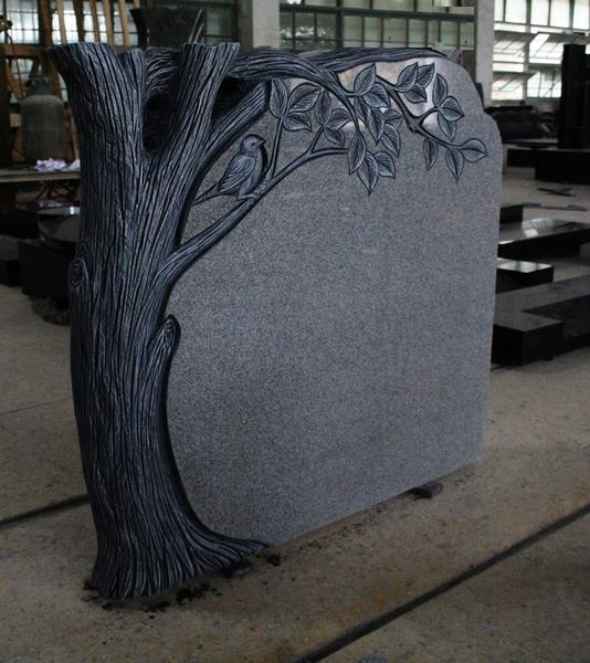 Light Gray G633 Polished Tree Carving Tombstone & Monument 5