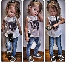 girl's clothing set child cat print t shirts +jeans trousers fort 2T - 6T