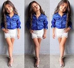 2PCS Baby Girl Denim shirt + Short Lace Pants suit set for 2-7T old