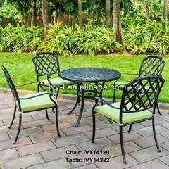 5-piece metal cast aluminum dining table and 4 chairs set with umbrella hole