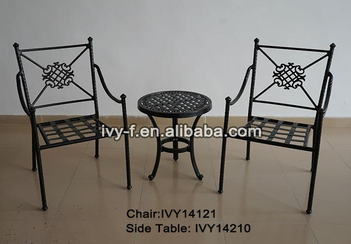 Terrace patio furniture metal small round side table and 2 for Small metal patio set