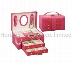 Pu leather wooden jewelry case