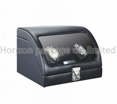 two capacity leather watch winder gift box for couples