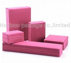 luxury Pu leather cover plastic jewelry box for necklace and  ring