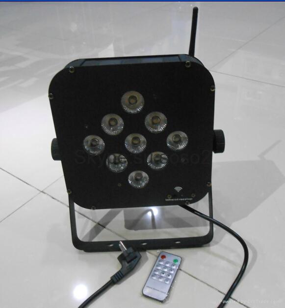 9pcs *15W 5 in 1 LED flat Battery Par Light wireless control 1