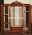 American classic style high end luxury wood structure and soft leather  bed 2