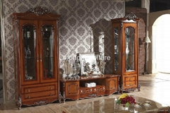 Solid wood wine cabinet with glass for utensils and living room furniture