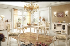 French rustic solid wood dining table with fabric chairs