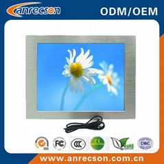 15'' industrial touch screen LCD monitor with DVI VGA input