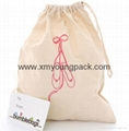Promotional custom 100% natural cotton drawstring shoe bag
