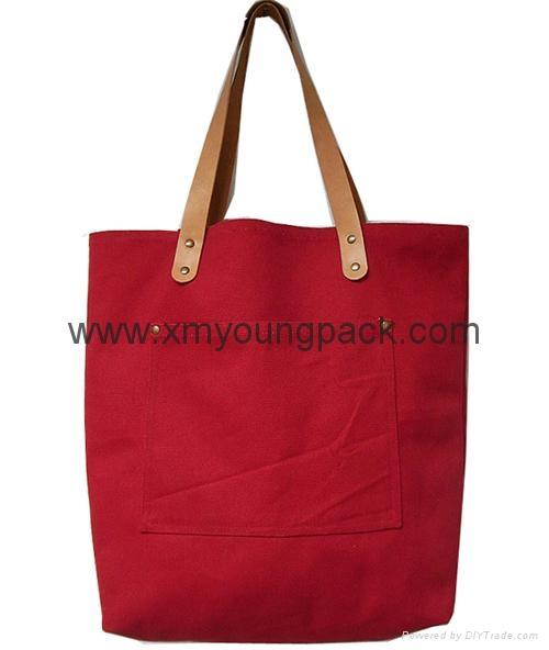 Fashion custom women′s canvas leather handle tote bag 1