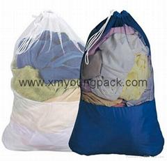 Personalized extra large heavy duty nylon mesh drawstring laundry bags