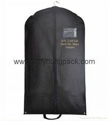 Personalized custom printed black non-woven suit garment cover