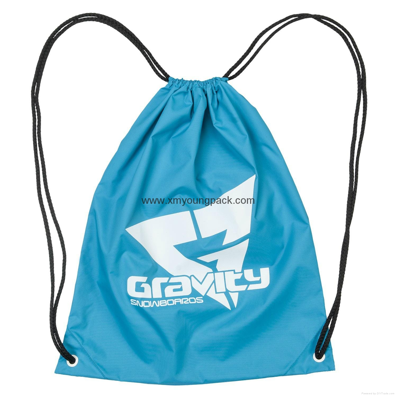 Promotional custom nylon drawstring cinch backpack bag 1