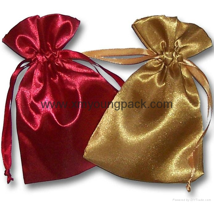Wholesale promotional custom small 100% polyester satin fabric gift bags 1