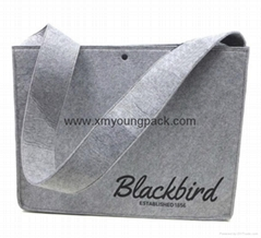 Personalized custom printed large grey polyester felt shoulder messenger bag