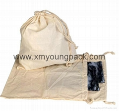 Promotional custom large 100% natural cotton canvas laundry bag