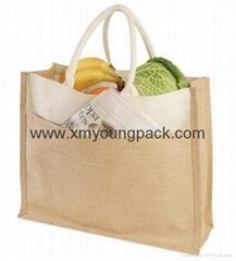 Custom large eco-friendly reusable cotton jute shopping bag