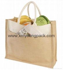 Custom large eco-friendly reusable jute shopping bag