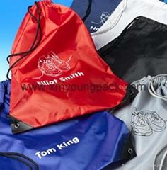 Personalized custom waterproof lightweight nylon gym sack drawstring bag