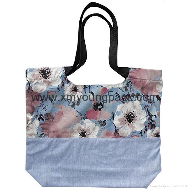 Fashion custom women′s canvas leather handle tote bag 4