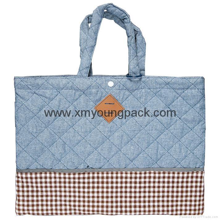 Fashion custom women′s canvas leather handle tote bag 7