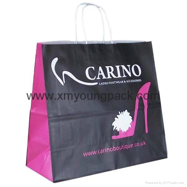 Luxury Custom Printed Twisted Handle White Kraft Paper Bag 6