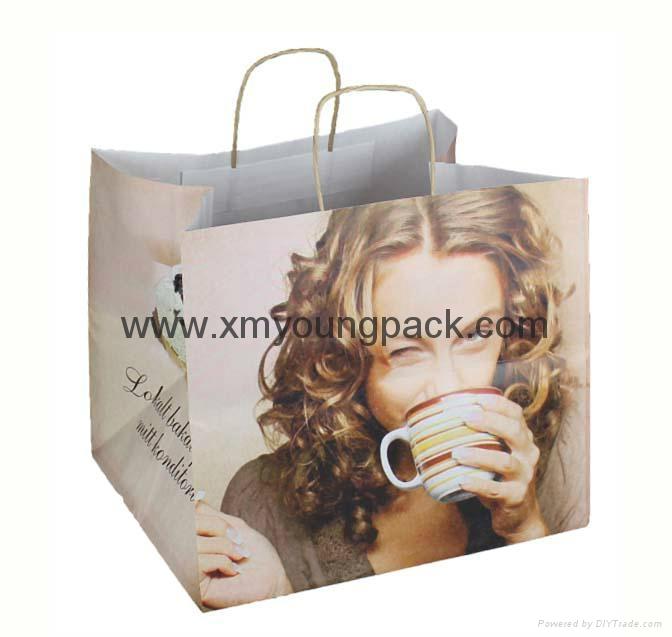 Luxury custom printed twisted handle white kraft paper bag 1
