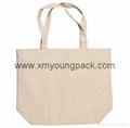 Promotional custom printed reusable 100% natural cotton long handle calico bag