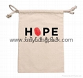 Personalized promotional small white organic cotton canvas drawstring pouch