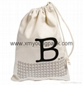 Promotional custom calico library bag cotton canvas drawstring backpack 7
