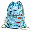 Promotional custom calico library bag cotton canvas drawstring backpack 9