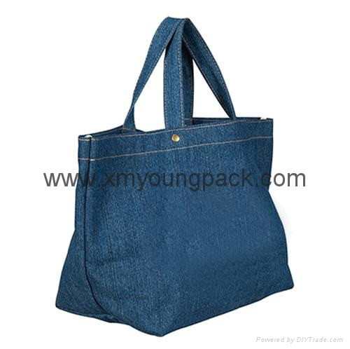 Fashion personalized custom design recycled jeans bag tote denim bag 2