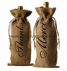 Promotional custom hessian jute wine gift bag