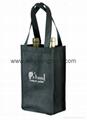 Wholesale cheap custom reusable NWPP single bottle wine carry bags 2