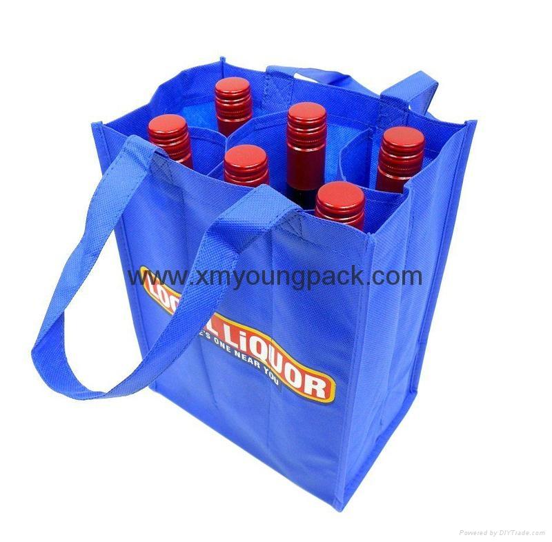 Wholesale cheap custom reusable NWPP single bottle wine carry bags 5