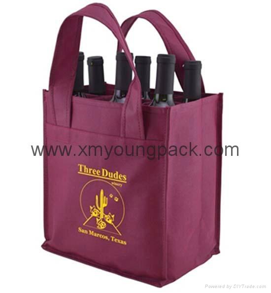 Wholesale cheap custom reusable NWPP single bottle wine carry bags 6