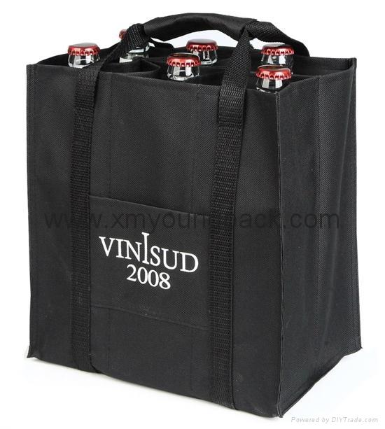 Wholesale cheap custom reusable NWPP single bottle wine carry bags 9