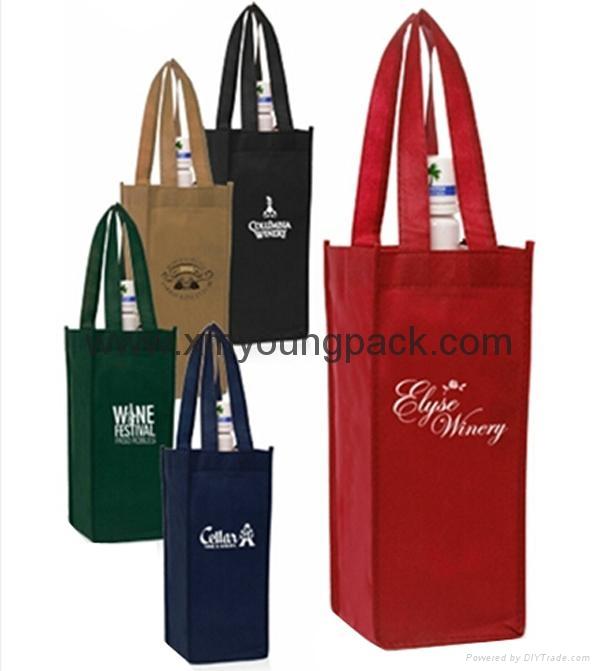 Wholesale cheap custom reusable NWPP single bottle wine carry bags 1